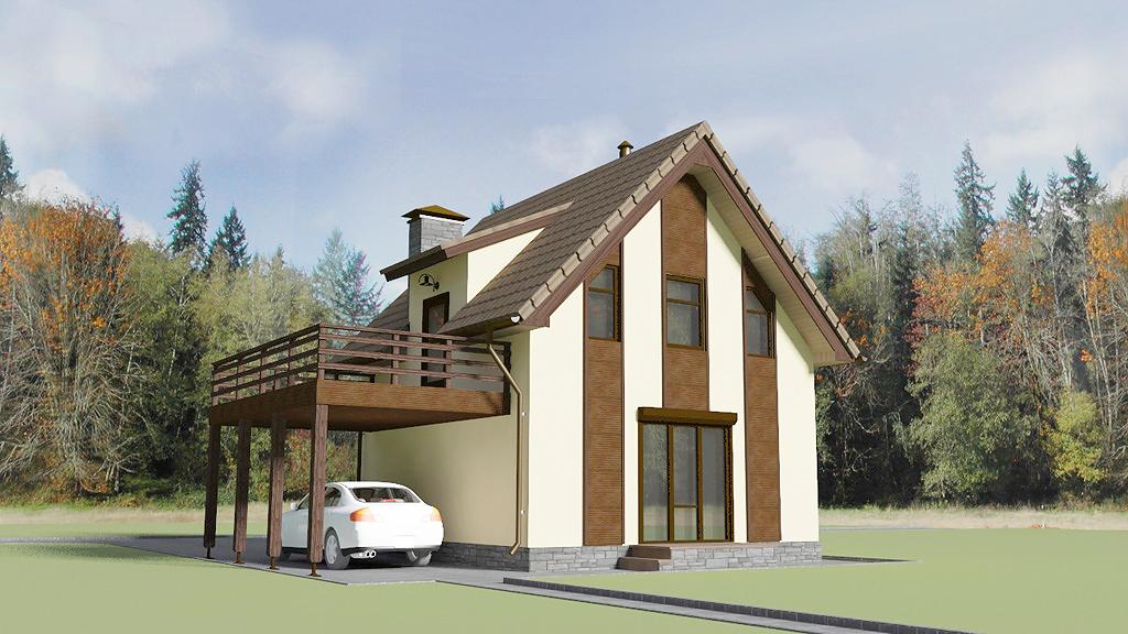 Дом с навесом, задний фасад